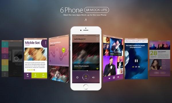 6 Free Modern iPhone 6 UI MockUp - Freebie #75