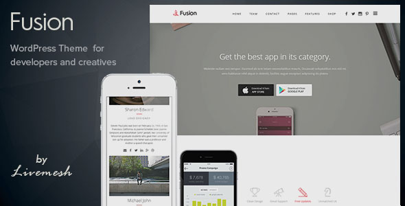 Mobile App Landing Page WordPress Themes