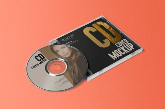 CD Jewel Case Label Sticker Mockup 01