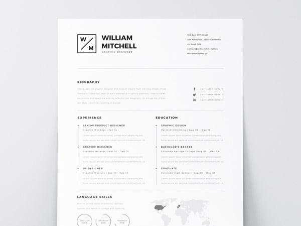 Free Minimal Resume Template 09