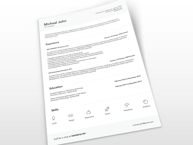 Free Clean Resume Template PSD 01