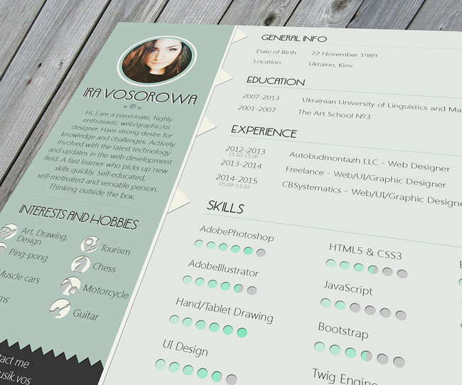 Free PSD Resume Template With Mint Design 01