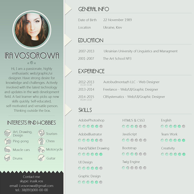 Free PSD Resume Template With Mint Design 03