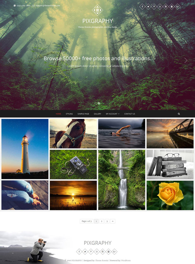 Pixgraphy Free Photography WordPress Theme