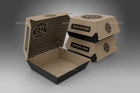 Burger Box Packaging Mockups