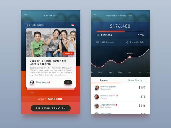 charity app UI