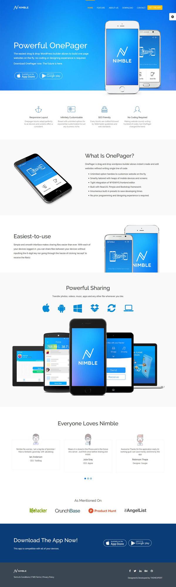 Free App Landing One Page WordPress Theme