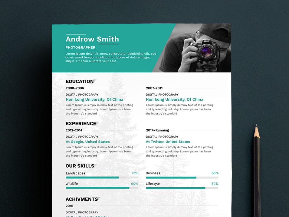 free photographer resume template that allows you to present your profile with professional way this template is 100 customizable and ready to print