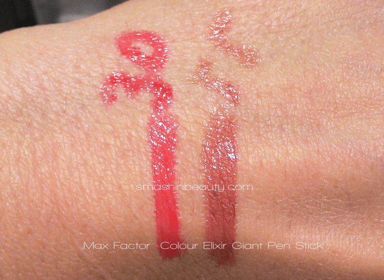 Max Factor Colour Elixir Giant Pen Stick in 35 passionate red & 55 Mysterious Haze Makeup Review Swatches