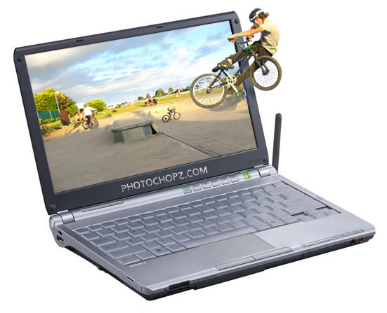 Jumping a Bike out of a Laptop 35 Fresh and Useful Photoshop  Tutorials