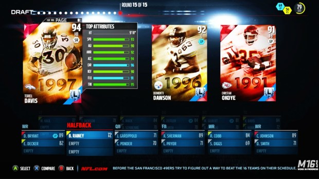 Draft Champions allows you to build to your own team's style, and even gives you access to NFL Legends like Terrell Davis with your picks.
