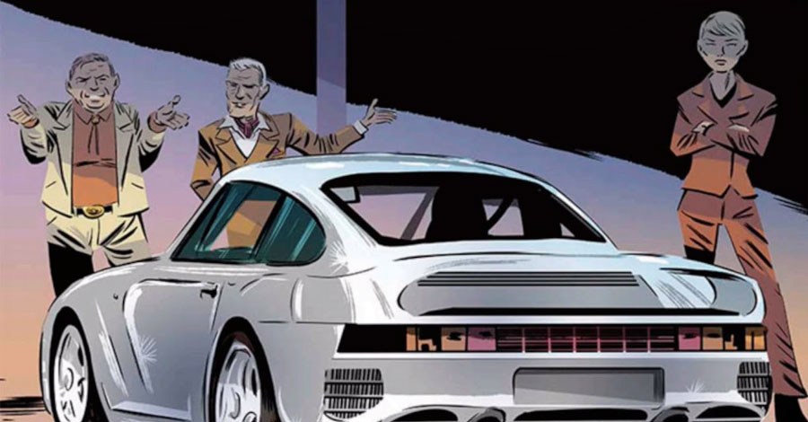 Victor Santos has drawn a spy comic for Porsche Club of America