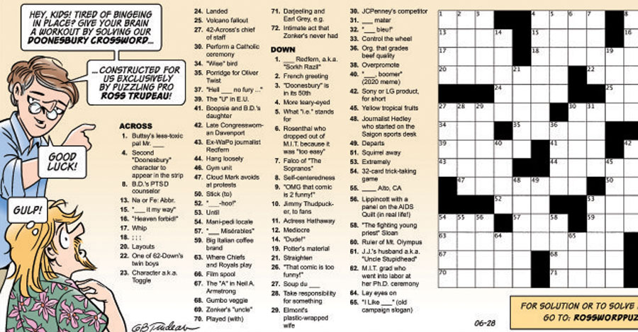 Sunday's Doonesbury strip featured a crossword puzzle designed by Trudeau's son