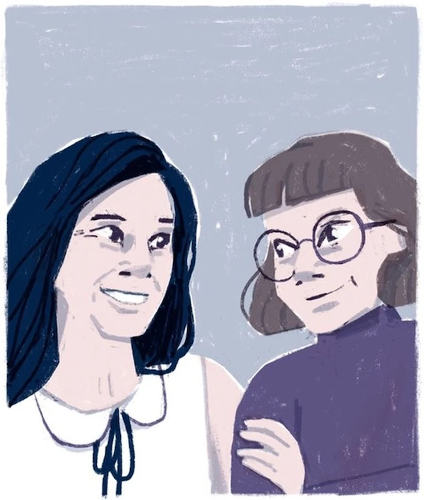 Drawing of Valerie Plante and Delphie Côté-Lacroix, by Delphie Côté-Lacroix