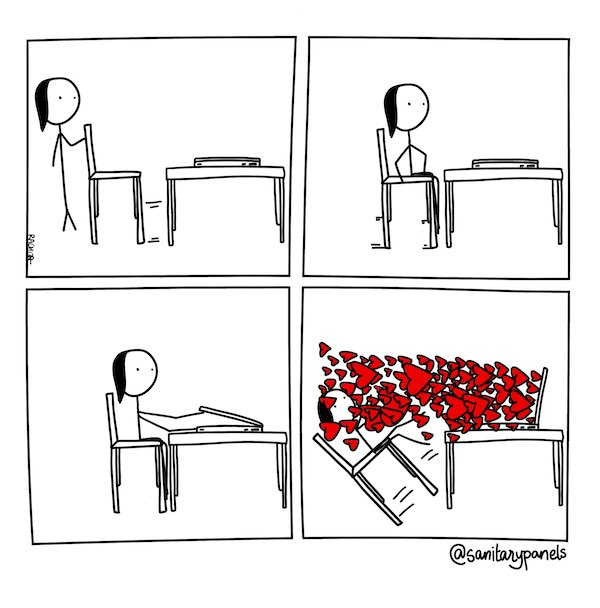 Cartoon by Rachita Taneja showing hearts pouring out of her computer