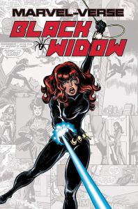 Cover of Marvel-Verse Black Widow, showing the title character wielding a glowing sword.