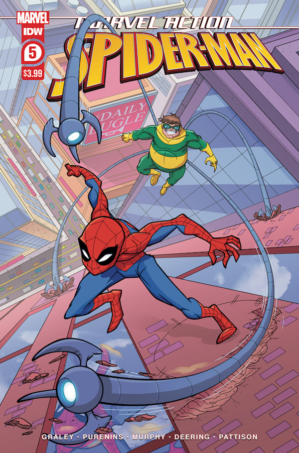 Cover of Spider-Man #5 showing Spider-Man running up the side of a building, being chased by a flying villain with claw-tipped tentacles.