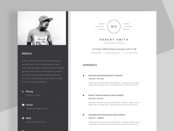 Free Unique Resume/CV Template with Stylish Design