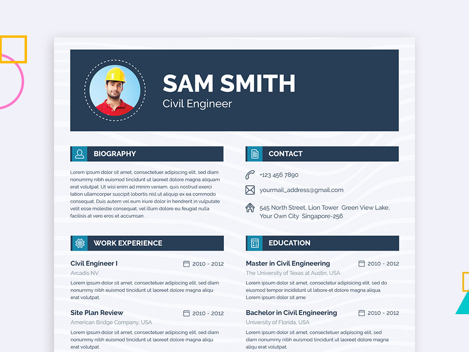 Free Engineer Resume Template With Clean Layout Design This Enginer Come Strong Structure And Very Easy To Use Customize