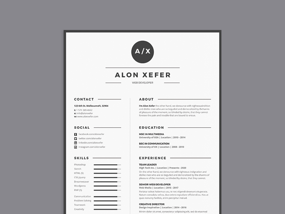 Free Modern Elegant Resume Template in Multiple Format (PSD, AI ...