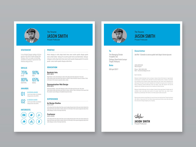 Free Resume Template with Cover Letter and Portoflio Page