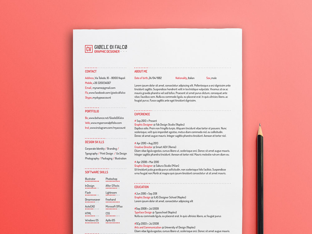 Free Simple Typographic Resume Template for with Clean Design