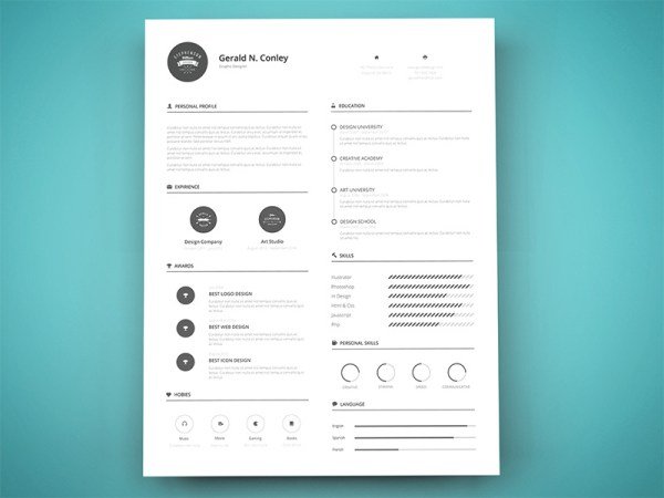 Free Minimal Resume Template with Infograpic Style Design