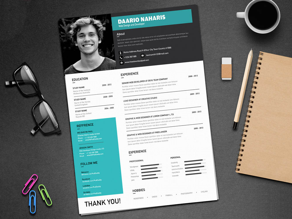 Free Creative Resume Template with Classy Design