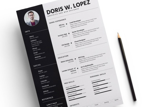 Free Creative Sketch Resume Template for Job Seeker