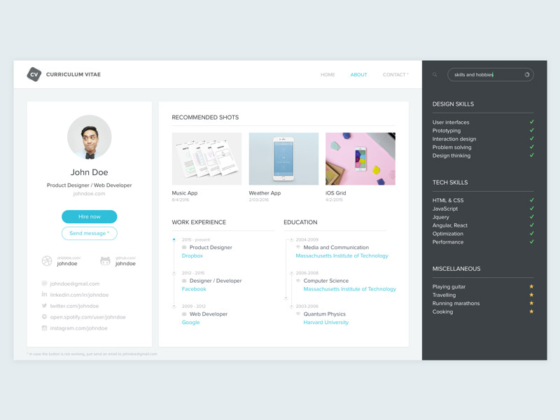 Free Dashboard Style Resume Template