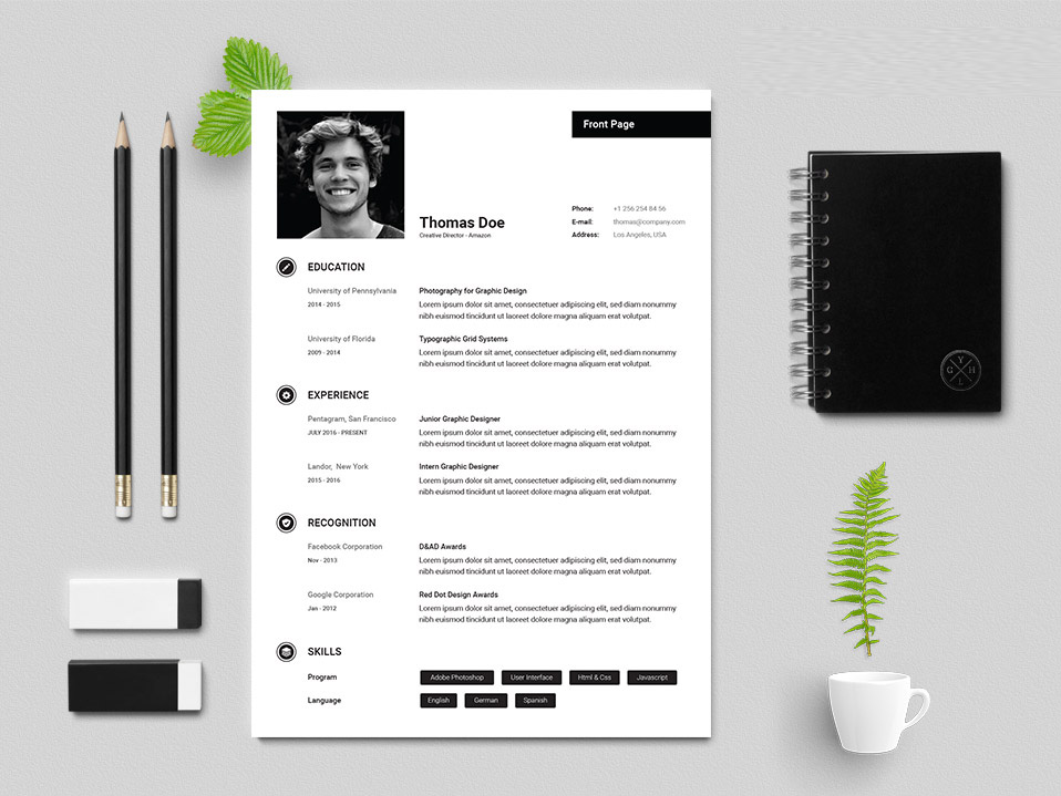 Free Creative Resume Template with Simple and Elegant Design
