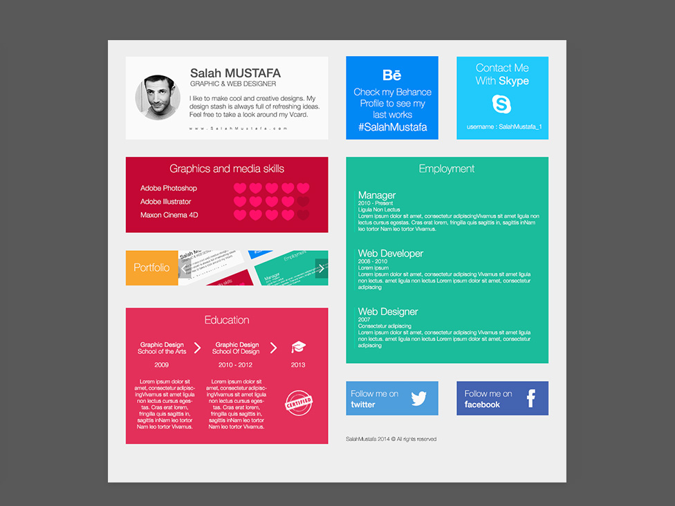 Free Flat Grid Resume With Colorful Style