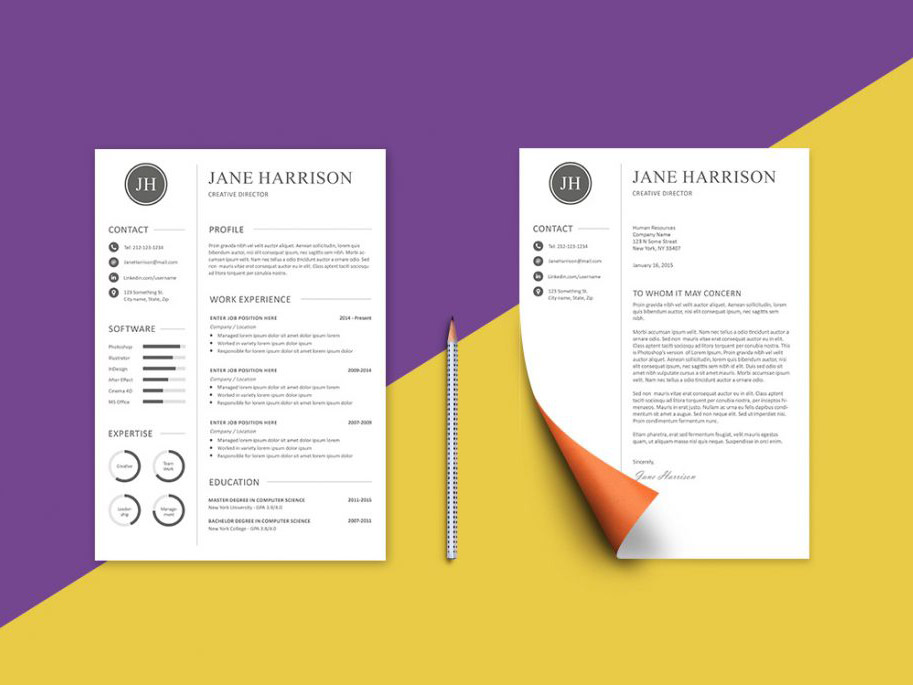 Free Resume Template and Cover Letter with Minimal Design