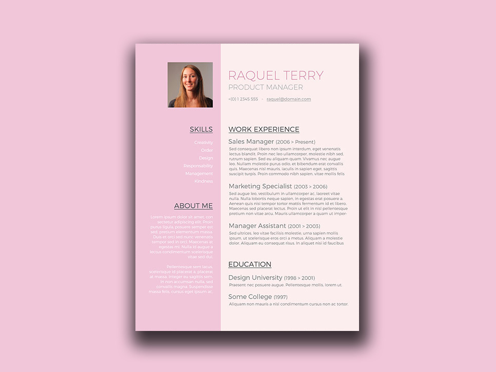 Free Feminine Resume Template in Word Format