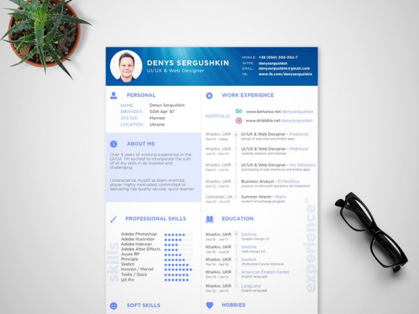 Free Modern Sketch Resume Template