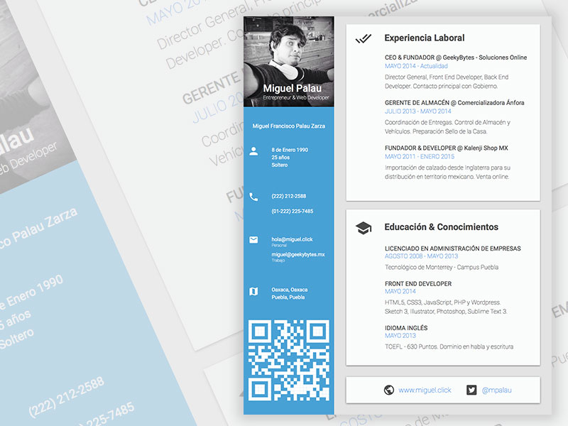 Free Creative Sketch Resume Template with Modern Design