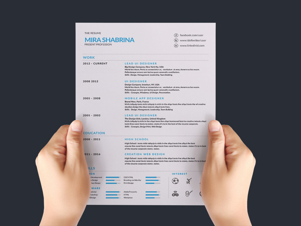 Free Resume Template with Simple Style Design