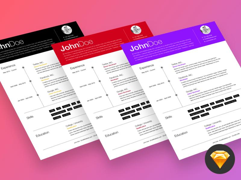 Free Timeline Sketch Resume Template with Elegant Design