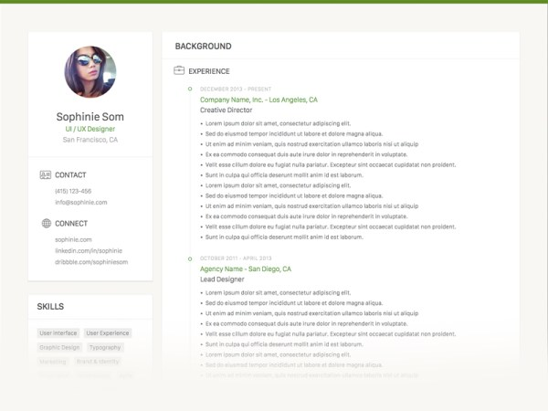 Free Clean Sketch CV Template with Minimalist Design