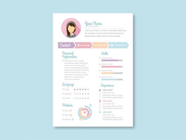 Free Vector Resume Template with Feminine Design
