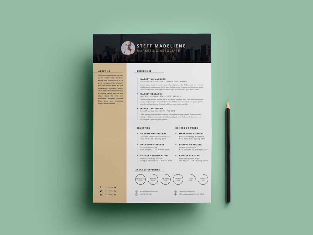 Free marketing Resume Template With Professional Design