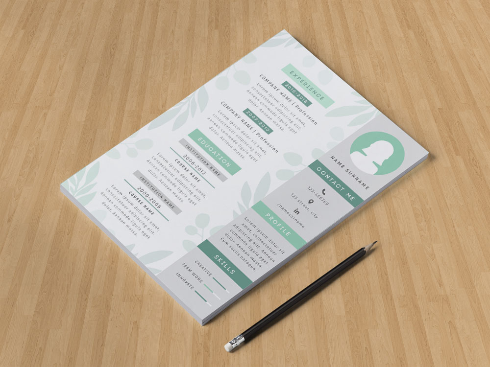 Free Feminine Resume Template with Green Color Combination