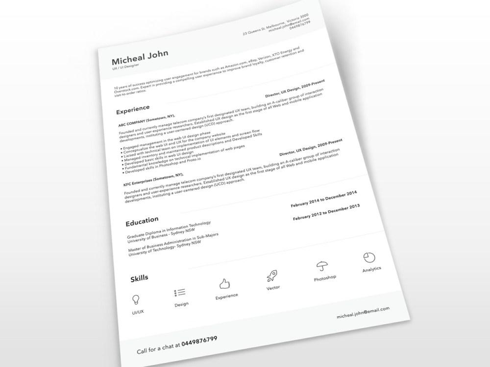 Free Minimalist PSD Resume Template for Job Seeker