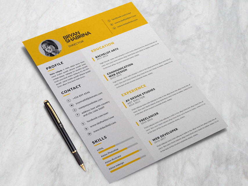 Bryan Resume   Free Clean Yellow Resume Template Here is free clean yellow resume template you must save at design library   This sharp design combines your creative wit and business mentality into a  clean