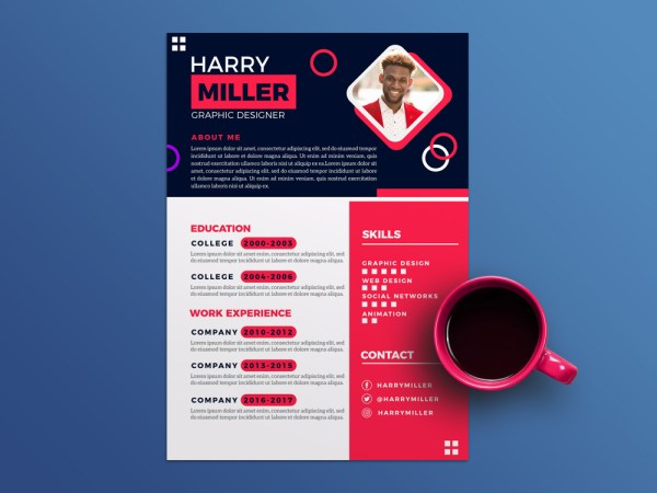 Free Flat Stylish Curriculum Vitae Template with Colorful Design