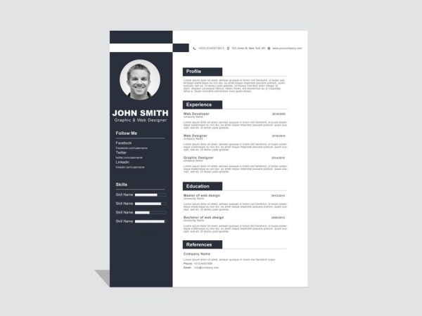 Free Clean Resume Template with Formal Style Design