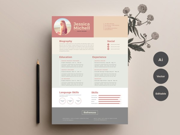 Free Elegant Colorful Resume Template with Simple Design