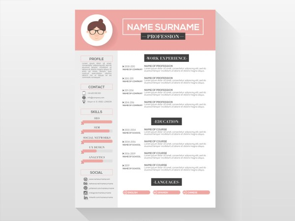 Free Feminine CV Template with Beautiful Design