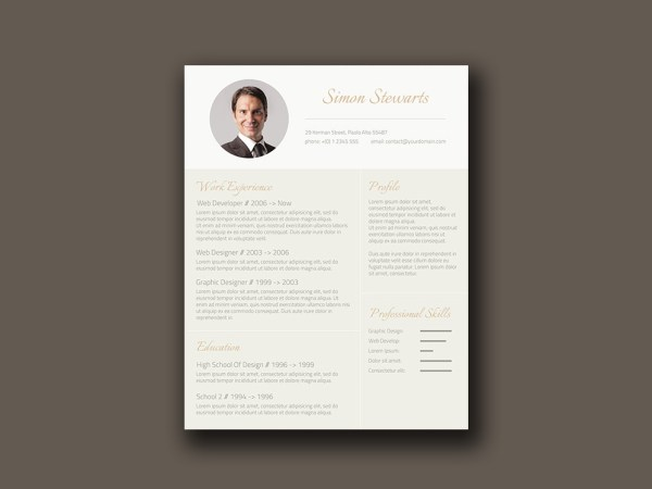 Free Gold Themed Resume Template with Conservative Design