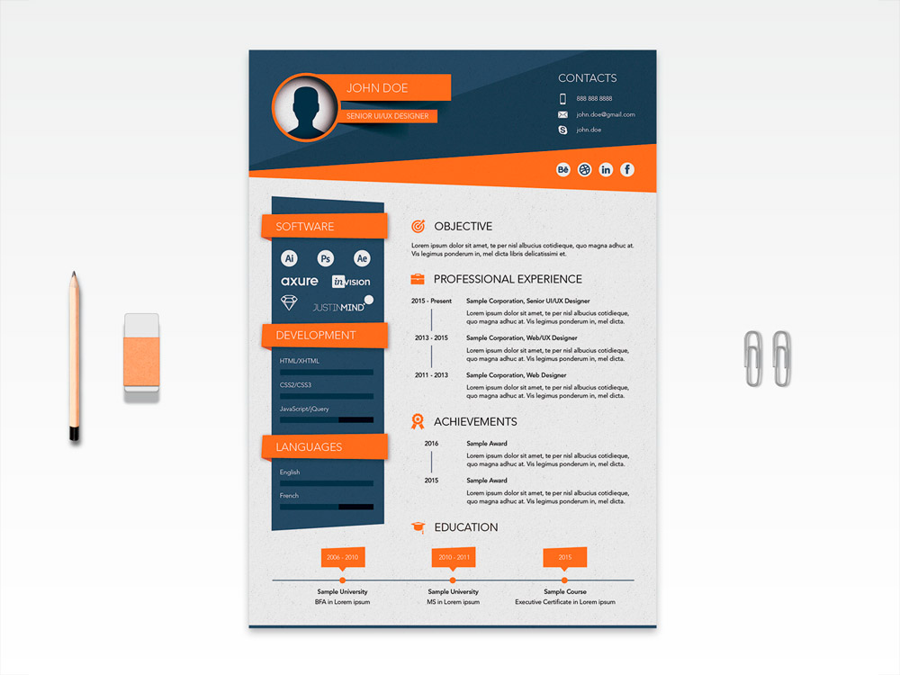 Free Vector Stylish Resume Template For Job Seeker